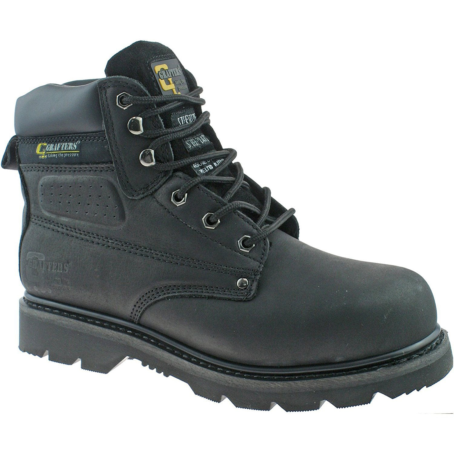 Grafters Gladiator Black leather Safety Toe Cap Boot M538A