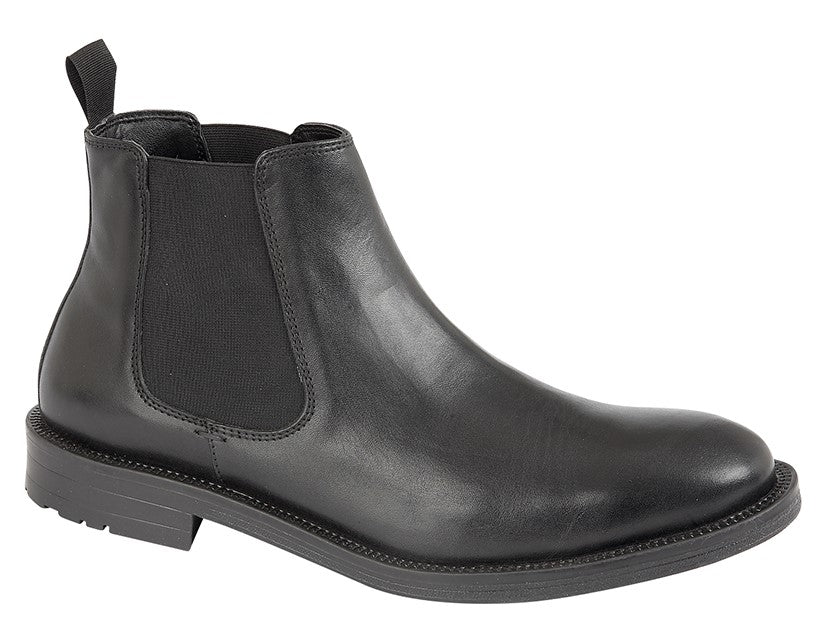 Roamers Black Leather Upper Pull On Boot
