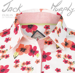 collare detainl Jack Murphy Rosemary Ladies Shirt in blossom wonder bright pink and red flower pattern