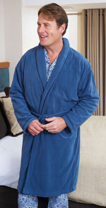 man in tie belt dressing gown