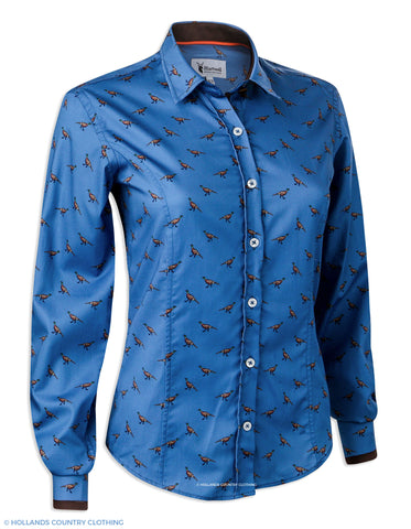 Hartwell Layla Cotton Shirt | Blue with Pheasants
