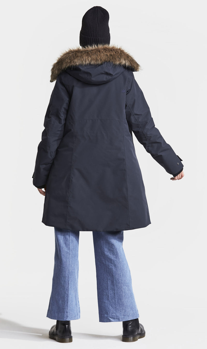 funky parka coat from behind