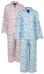 Champion Ladies Eleanor Pyjamas pure cotton floral print pink and blue