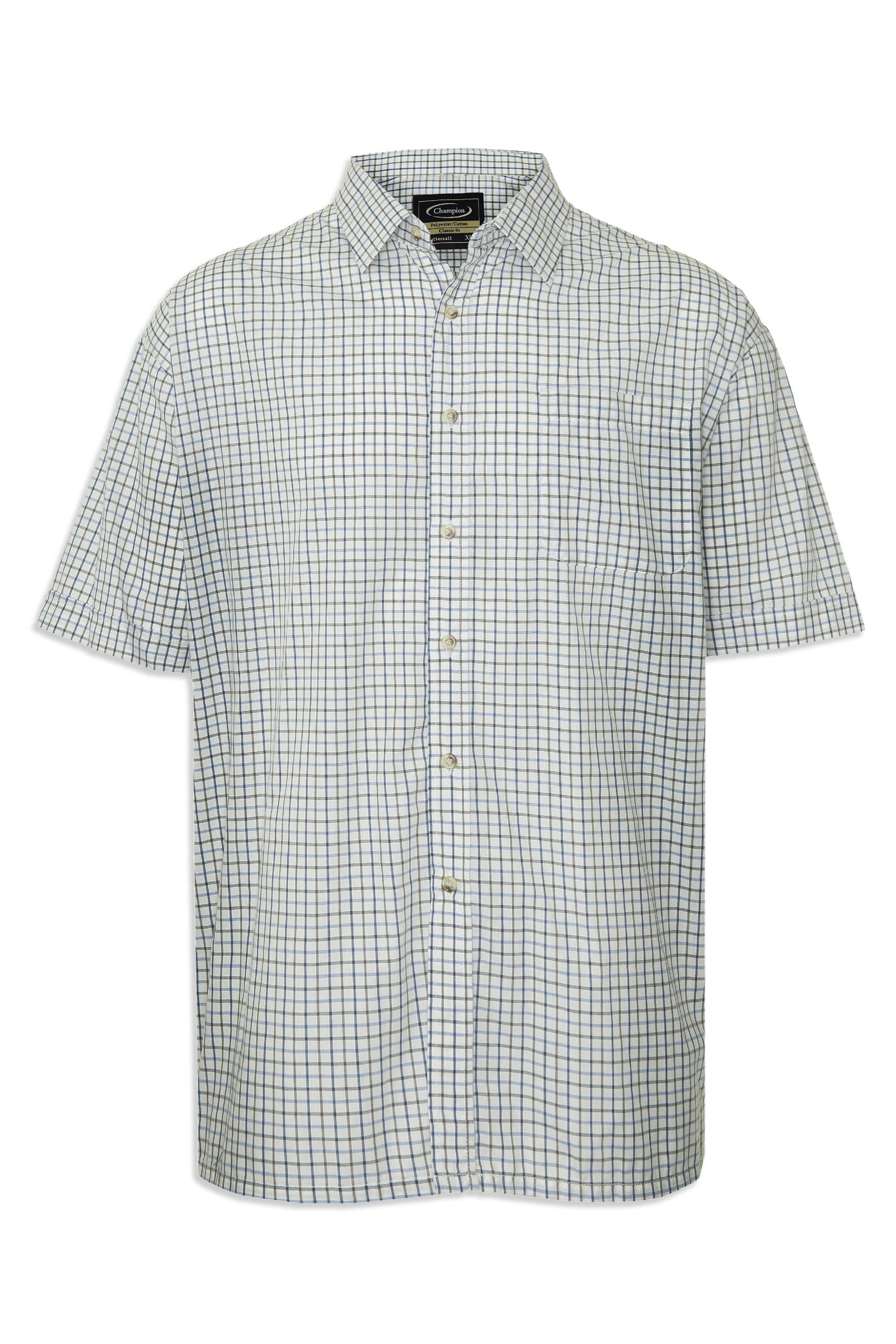 in blue check Champion summer Tattersall, the classic country tattersall check shirt with short sleeves, ideal for summer