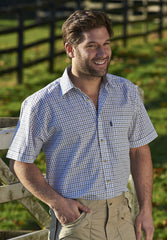 farmer wearing Champion summer Tattersall, the classic country tattersall check shirt with short sleeves, ideal for summer