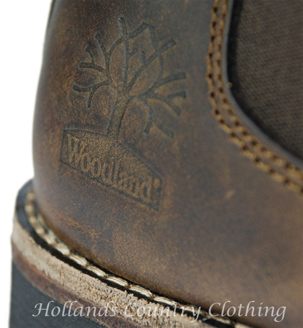heel leather detail view Woodland Crazy Horse Leather Chelsea Pull On Boot