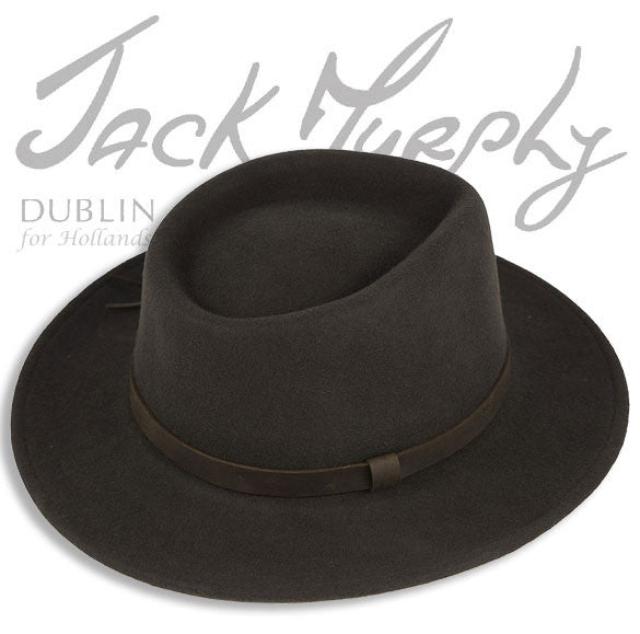 showing hat crown and wide brim boston fedora