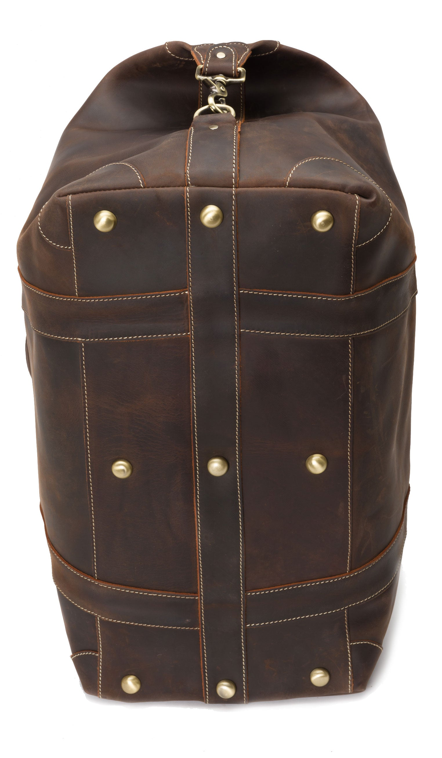 studded bottom on a leather man bag