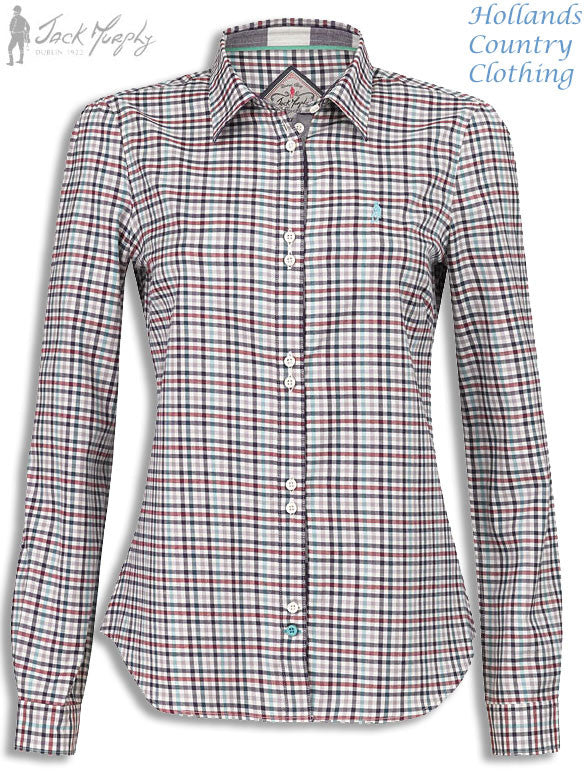 Jack Murphy Bridget 'Peacock Delight' Ladies Shirt Bright check pattern