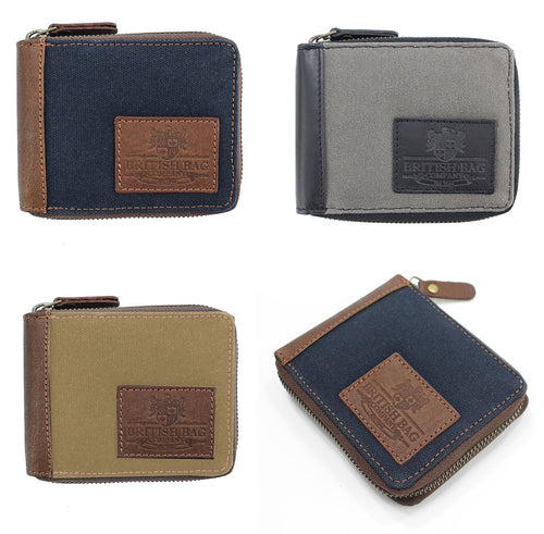 British Bag Co. Waxed Canvas Zip Wallet | Blue Grey Green