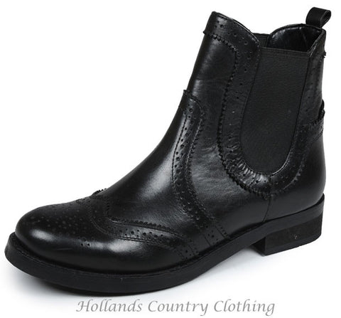 Ladies Leather Black Brogue Chelsea Boot by Silver Street