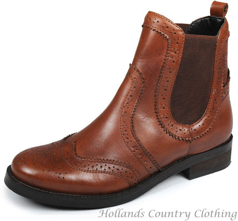 Tan Ladies Leather Brogue Chelsea Boot
