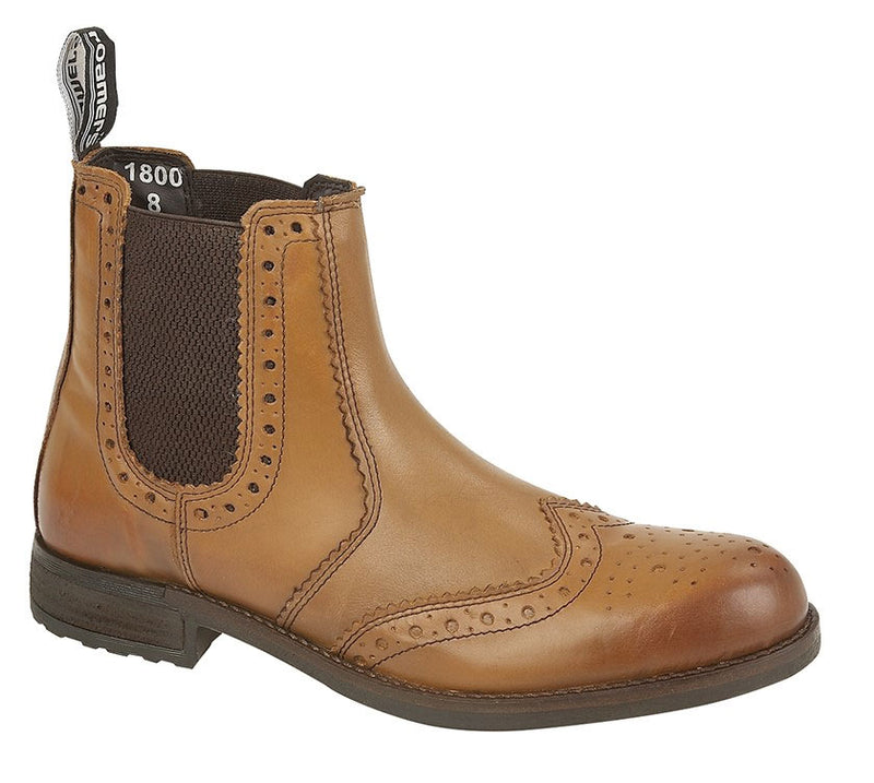 Roamers Leather Upper Brogue Chelsea Boot