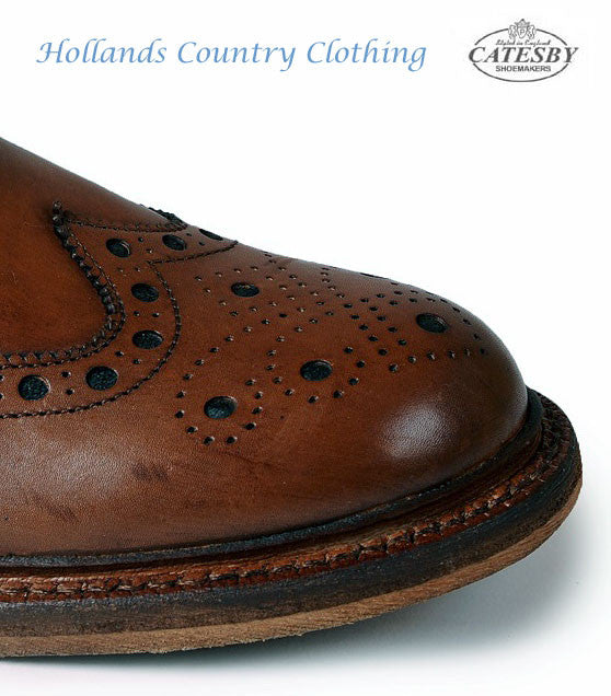 brogue detail for toe Catesby Leather Sole Rich Brown Brogue shoe