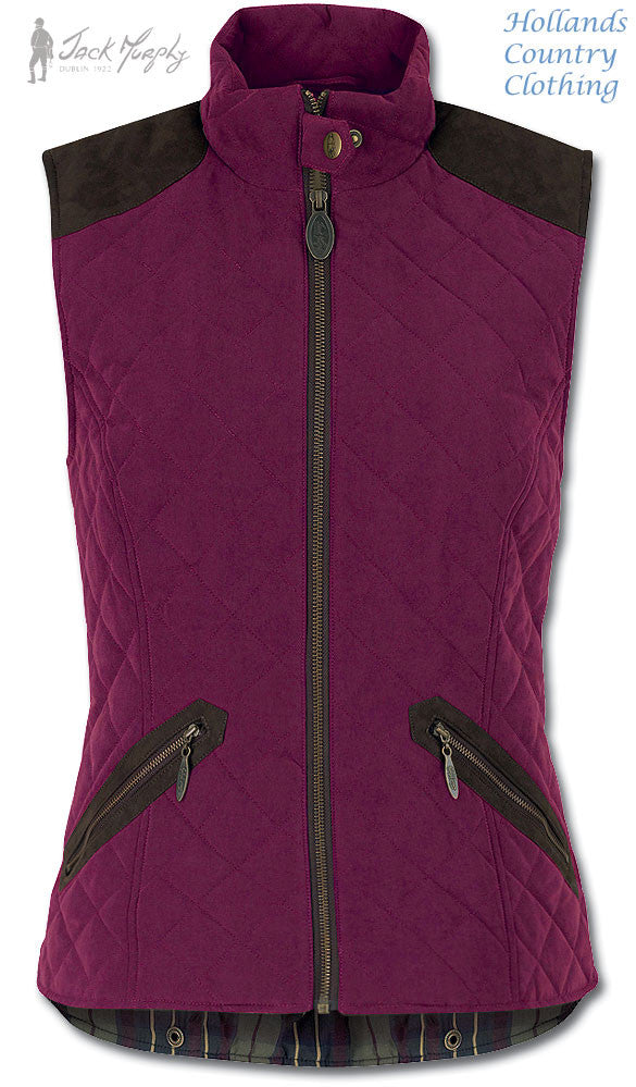 jack murphy Bronagh in roasted aubergine ladies quilted gilet