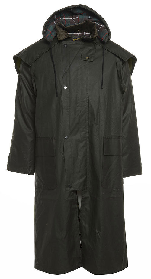 Long Waxed Cotton Coat by Bronte Outdoor front view