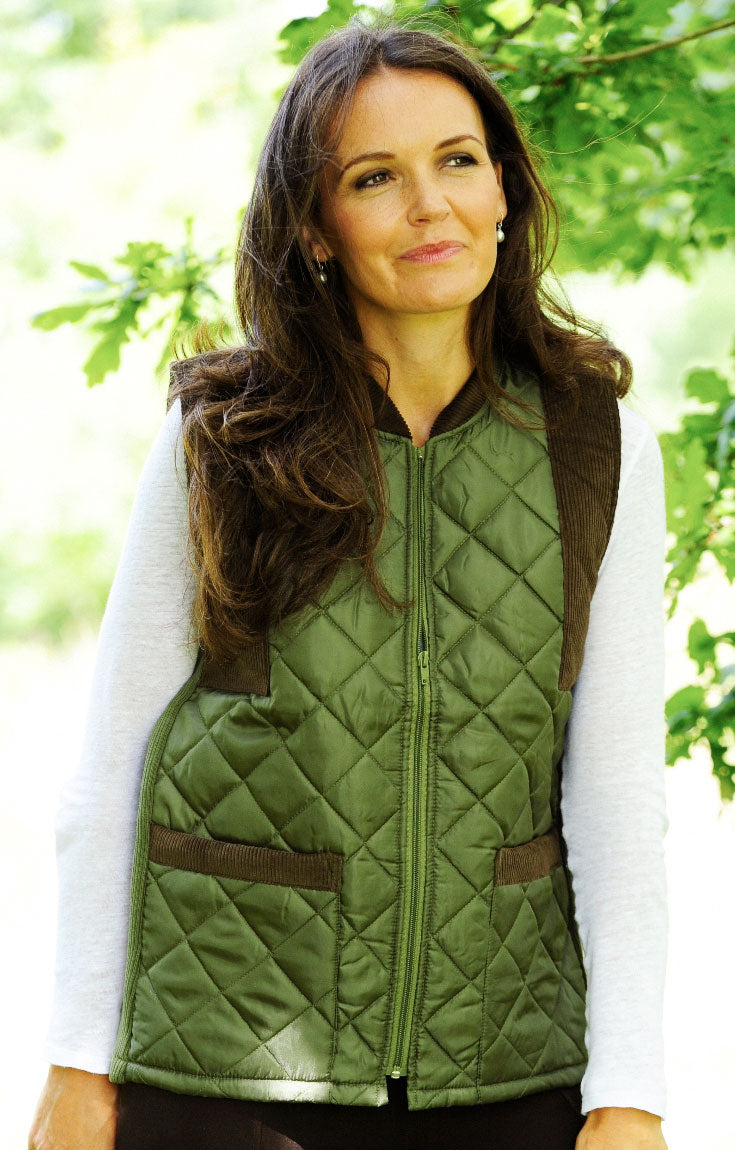 Bronte Quilted Gilet / Waistcoat for men and women quilted nylon with cord on shoulders and zip fronta