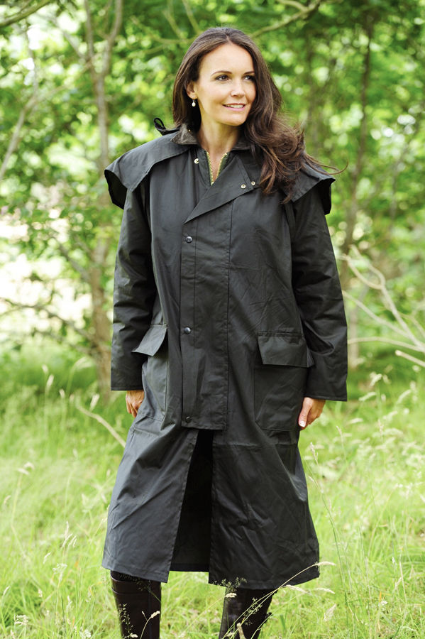 woman wearing Long Waxed Cotton Coat by Bronte Outdoor.