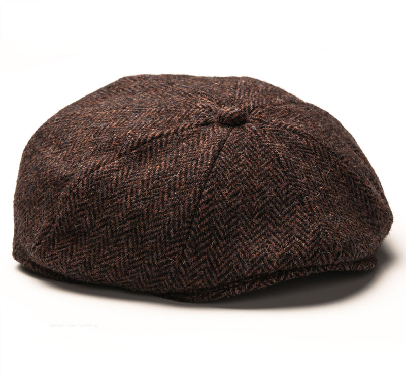 harris tweed pure wool Heather Arran 8-Piece Harris Tweed Cap | Brown/Black