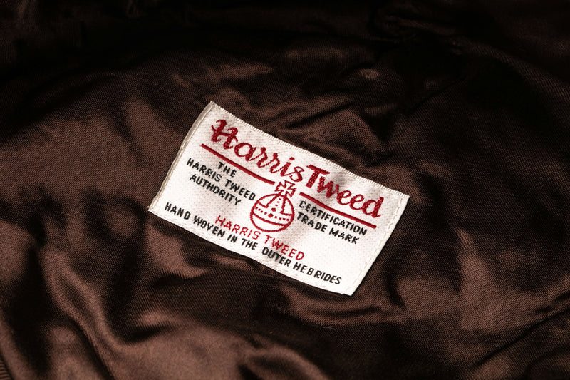 Brown silky lining with Harris Tweed label