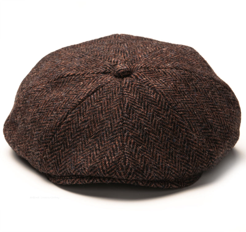 Eight Panel button  cap in dark brown tweed