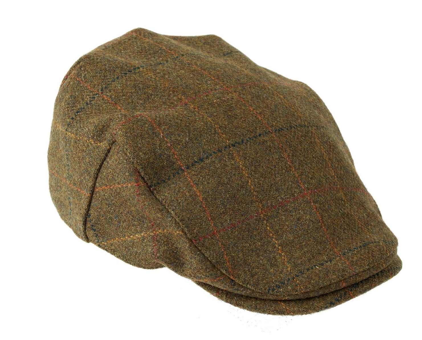d9a3c9effd4 Shetland Wool Kinloch Waterproof Tweed Flat Cap in Brown with Check Pattern  by Heather Hats