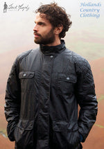 shown in Pitch Black this new look four pocket style is inspired  the traditional Motorcycle Biker's Jacket