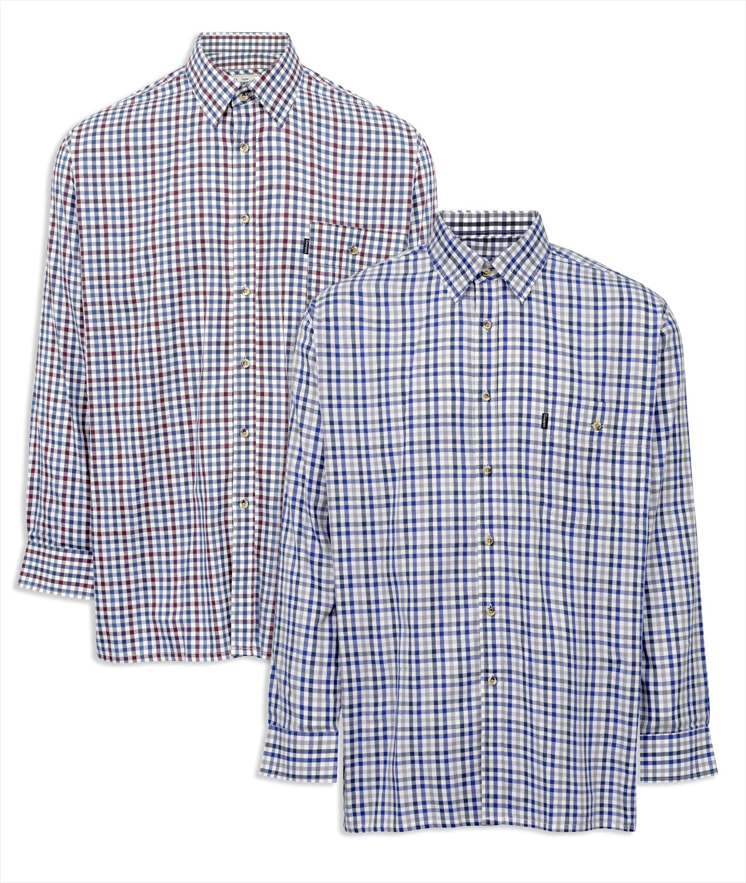 b81770fb Champion Buxton Gingham Cotton Rich Shirt blue white and red check