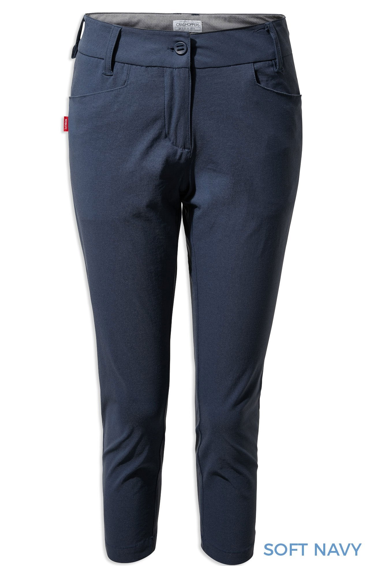 Soft Navy Craghoppers NosiLife Clara Crop Trousers