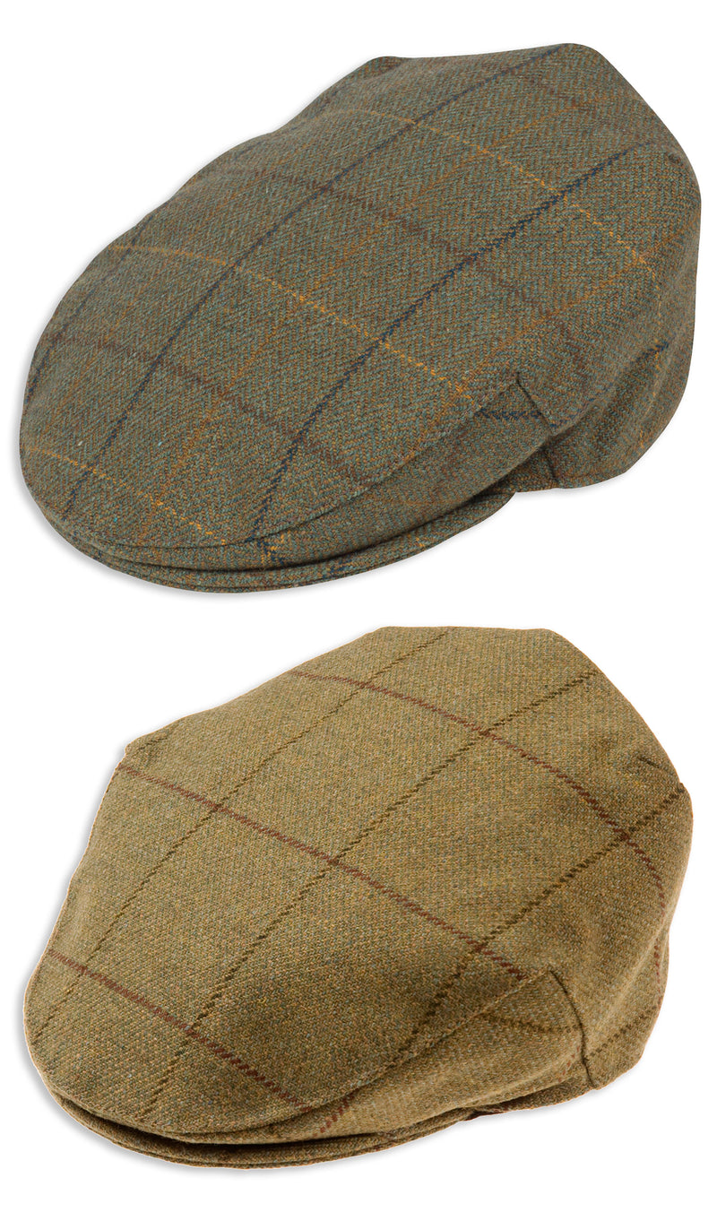 Alan Paine Rutland Waterproof Tweed Flat Cap | Dark Moss, Lichen