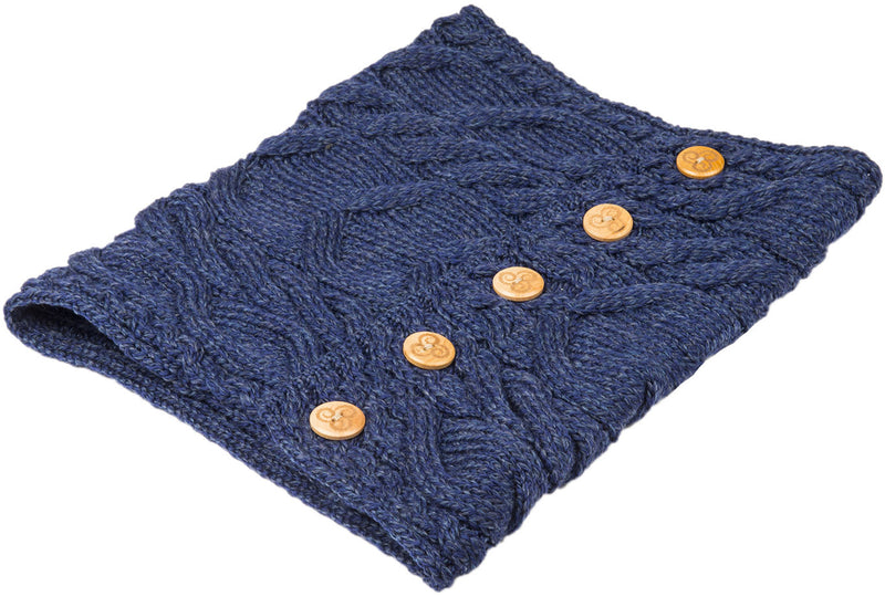 Deep Blue Aran Merino Wool Button Snood