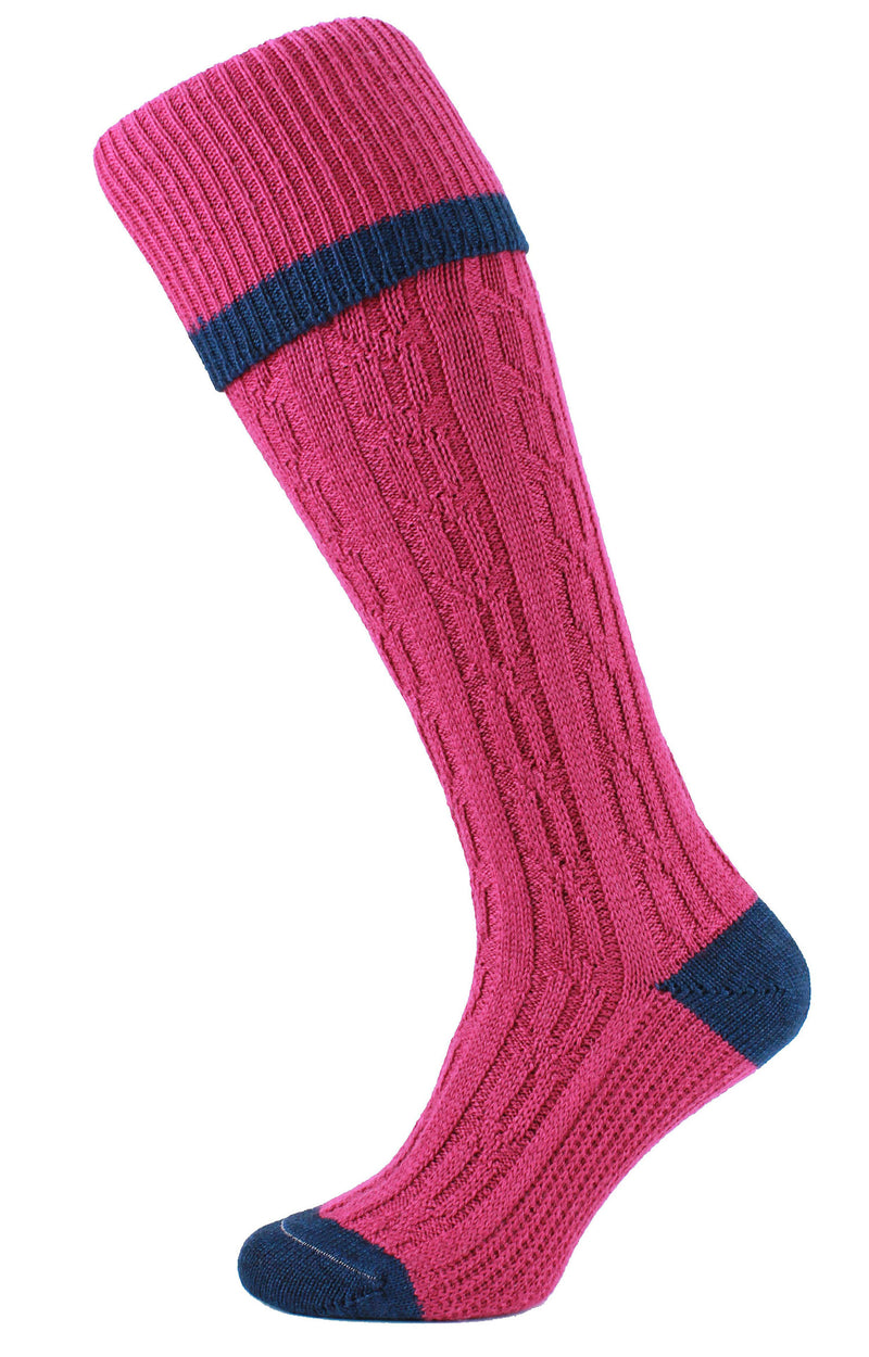 HJ Hall Cushion Foot Long Sock | Contrast Tip raspberry pink