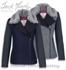 Jack Murphy Cameron Tweed Biker Jacket with faux fur collar intwo colours