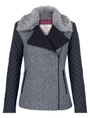 Cameron BLACK & WHITE HERRINGBONE Tweed Ladies Biker Jacket JACK MURPHY JAC 698
