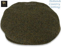 Shetland Wool Tweed Cap  in Green Herringbone pattern