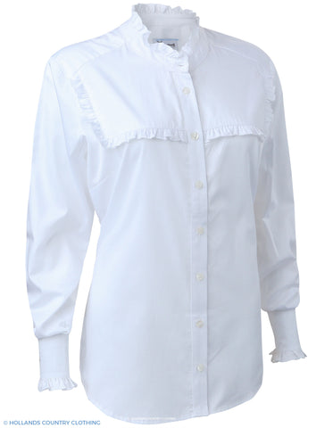 Carlota Ladies Frilly Front Shirt by Hartwell in white