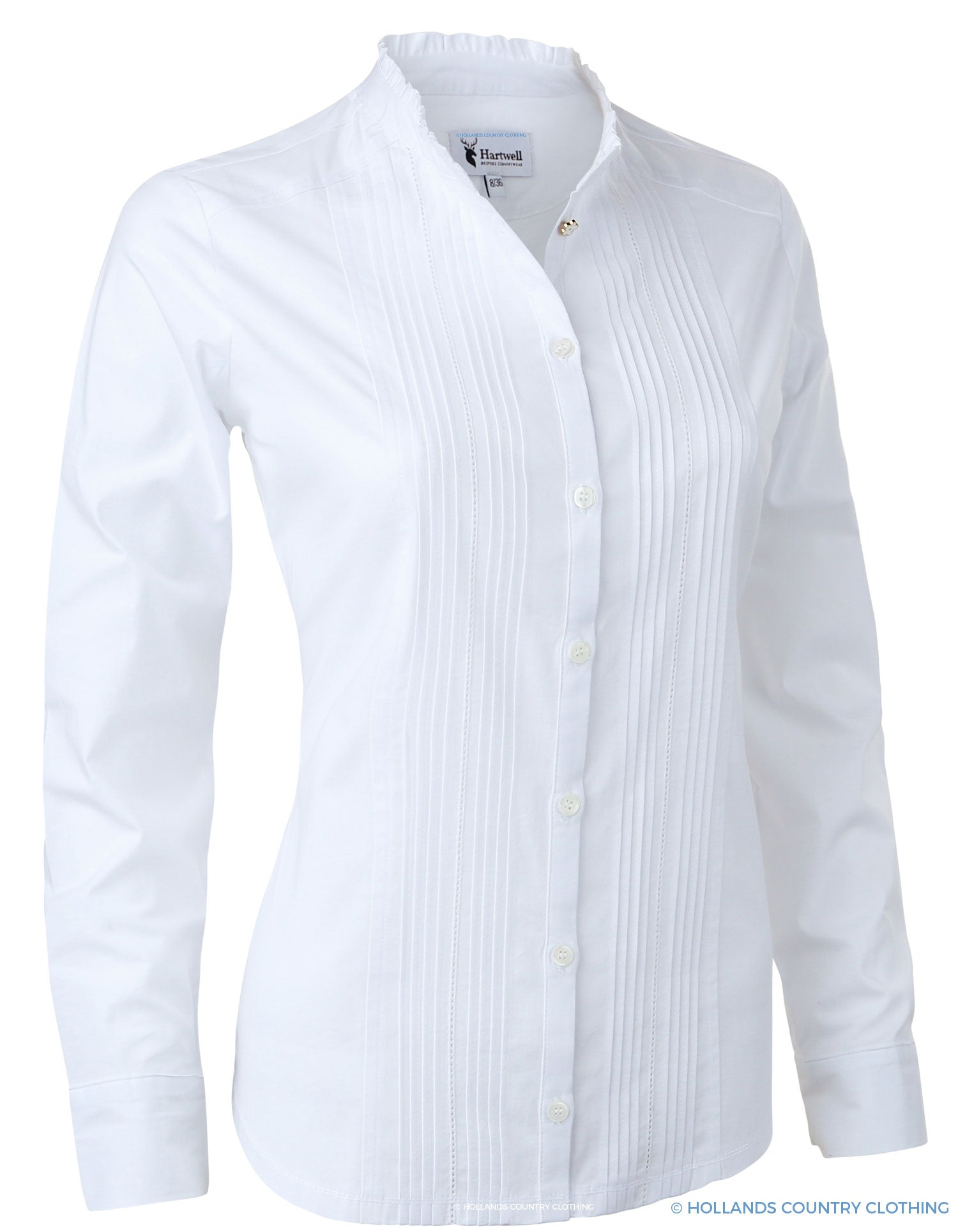 Hartwell Mona Cotton Shirt | Ruffle/Pleat White