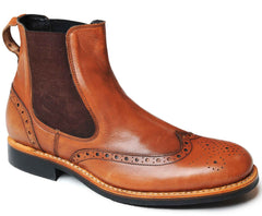 Catesby Tan Leather Brogue Elastic Gusset Boot