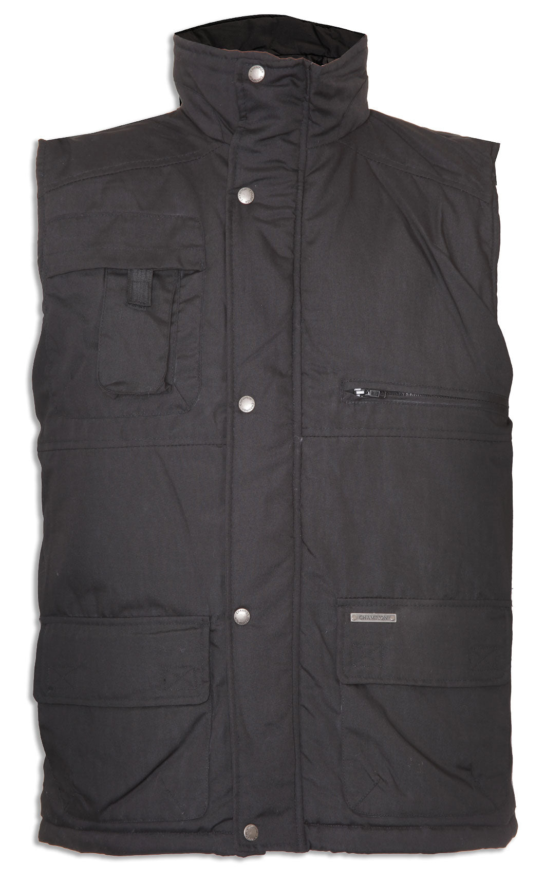 black Champion Peak Multi-Pocket Padded Body warmer