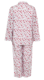 rear view Champion Ladies Eleanor Pyjamas pure cotton floral print pink and blue