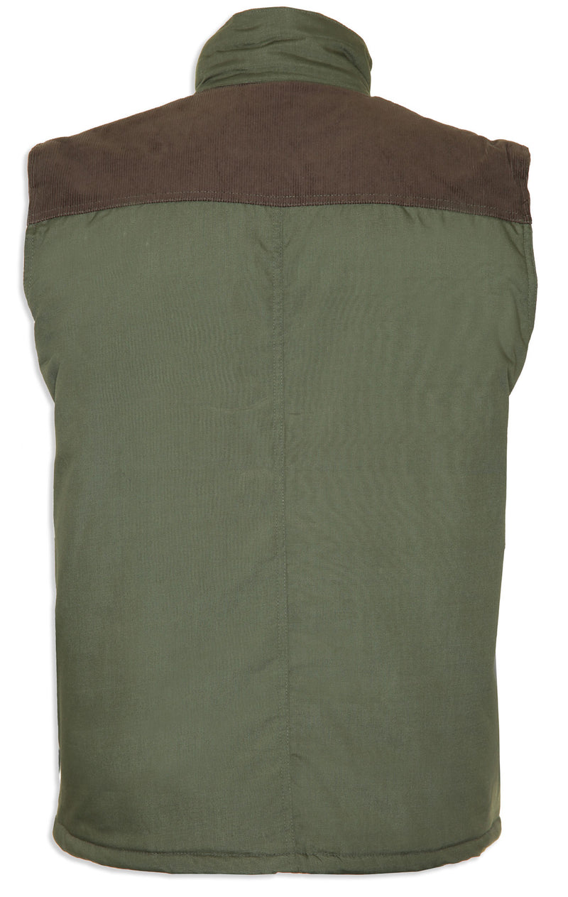 Olive back view \Champion Exmoor Multi Pocket Padded Body Warmer