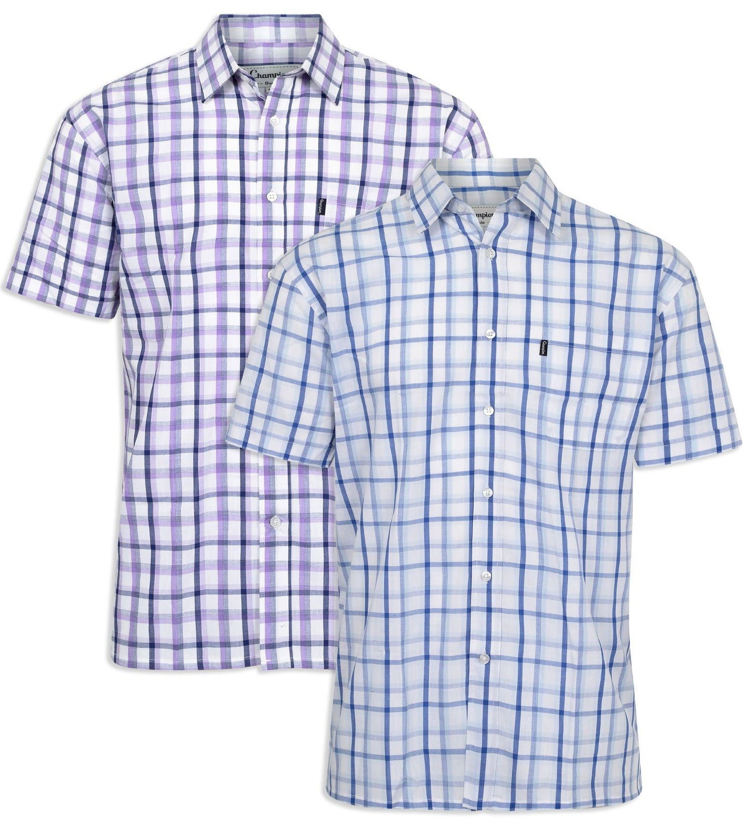 Champion Bude Short Sleeve Shirt - blue and navy check