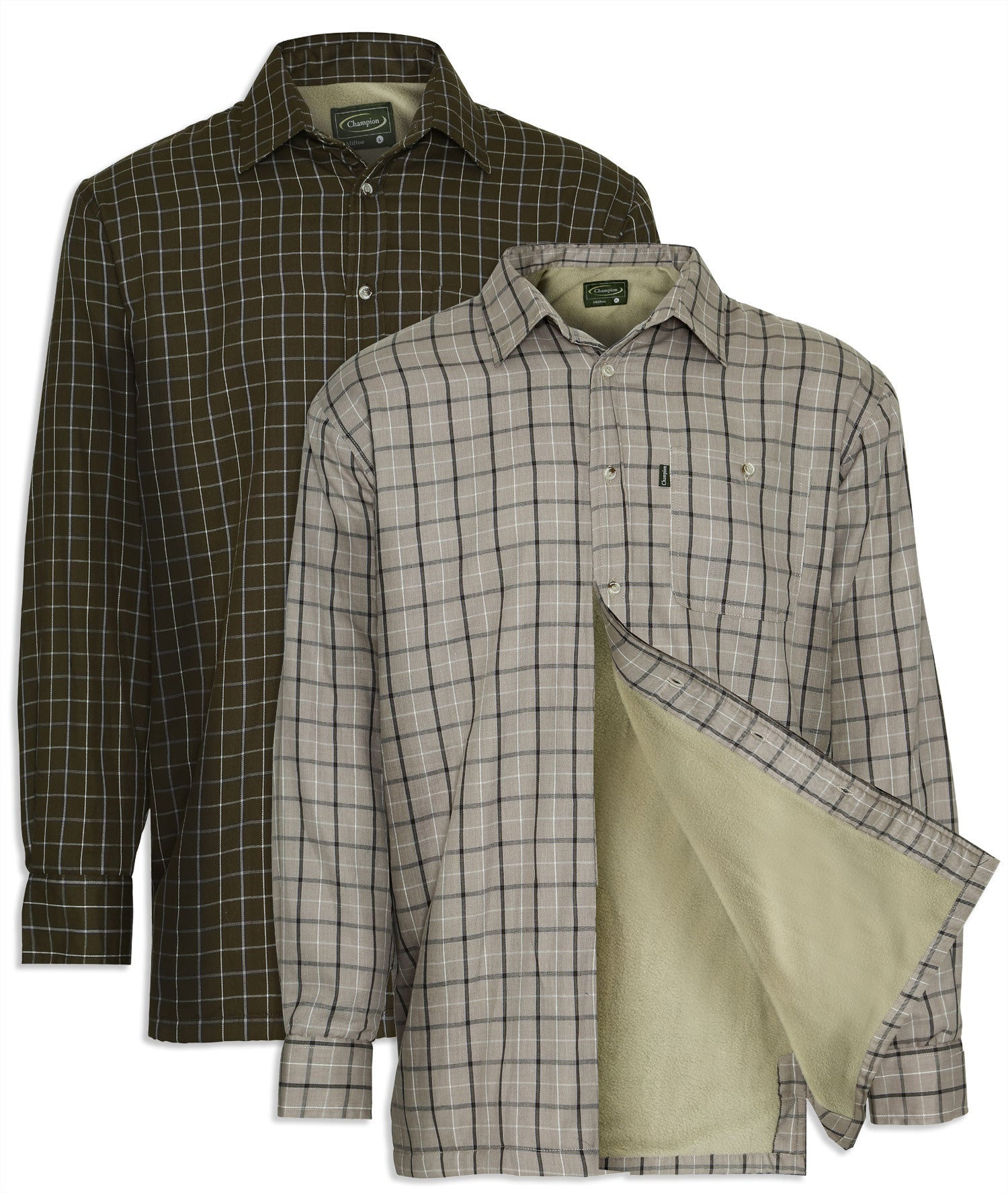 Champion Milton Micro Fleece Lined Shirt in colours green and taupe
