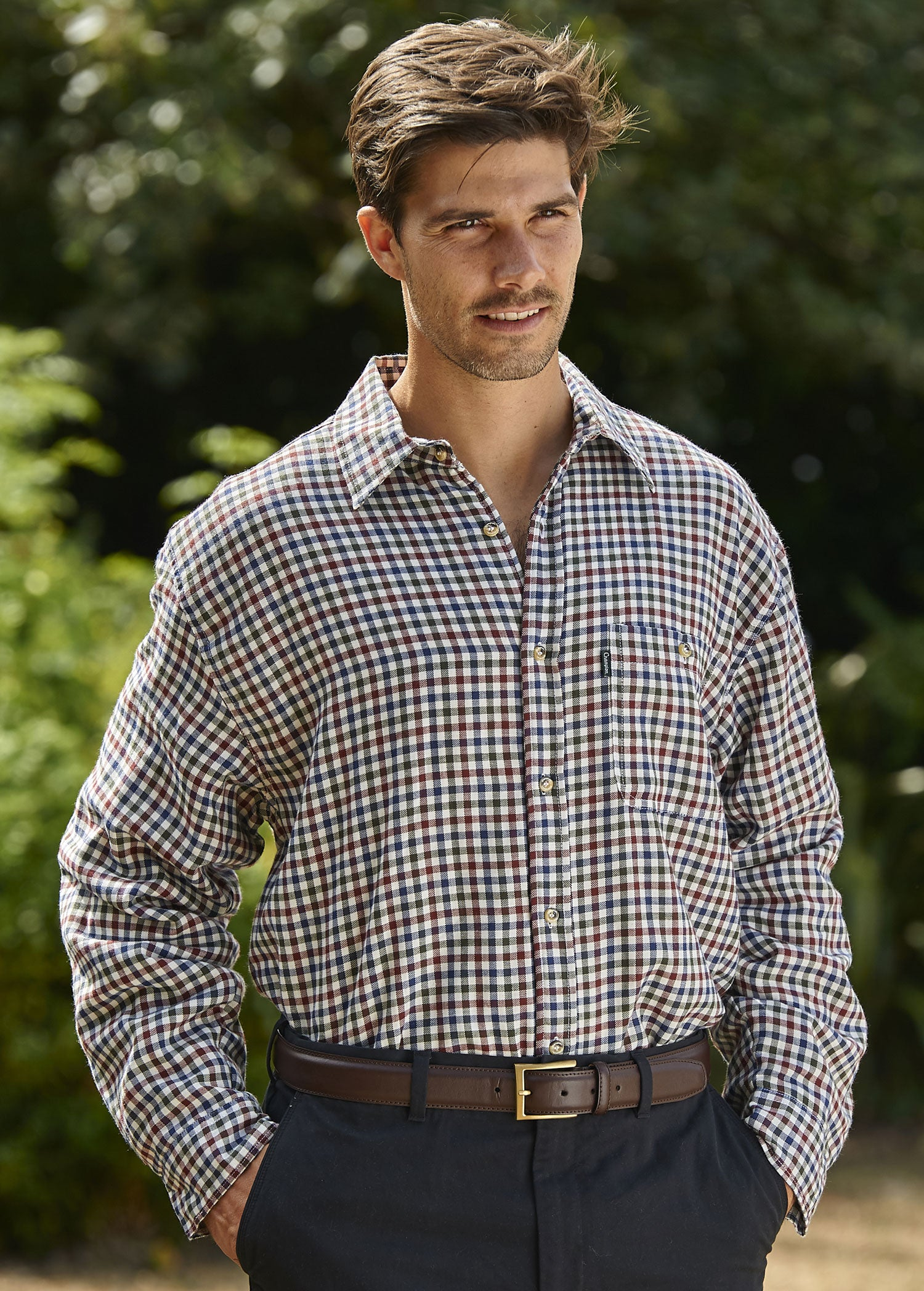 green country check Champion Heathfield Micro Fleece Lined Shirt