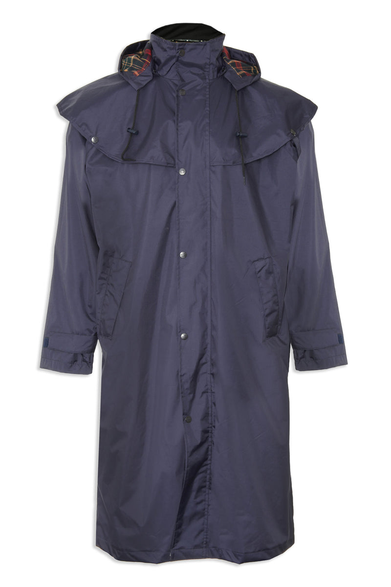 in navy Highgrove Full Length Men's Long Waterproof Coat by Champion.