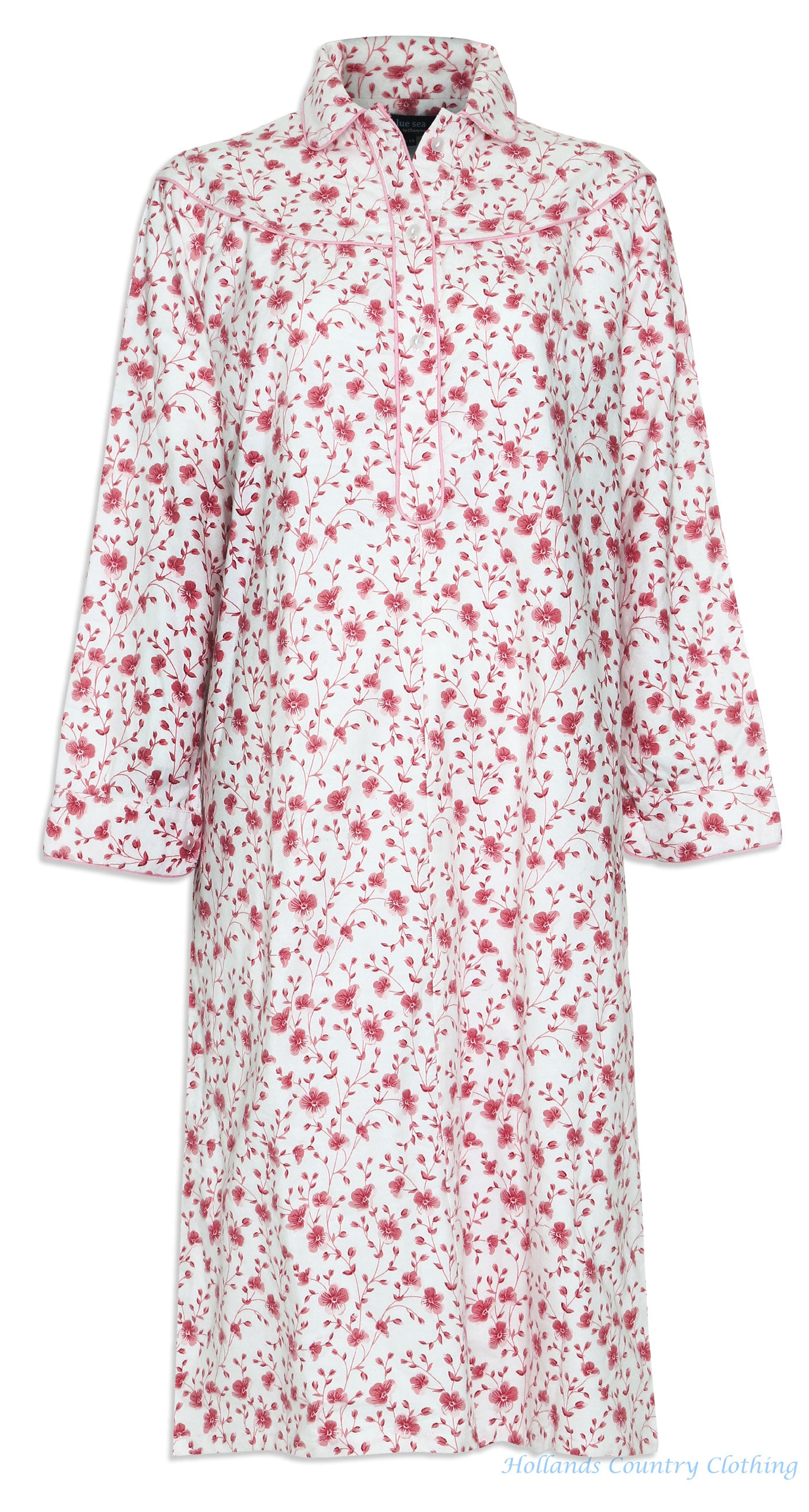 pink and white Champion Ladies Eleanor Floral Nightdress cotton in blue and pink flower pattern