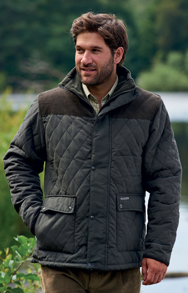 548e7bfd3 Champion Lewis Diamond Quilted Jacket | Black & Olive