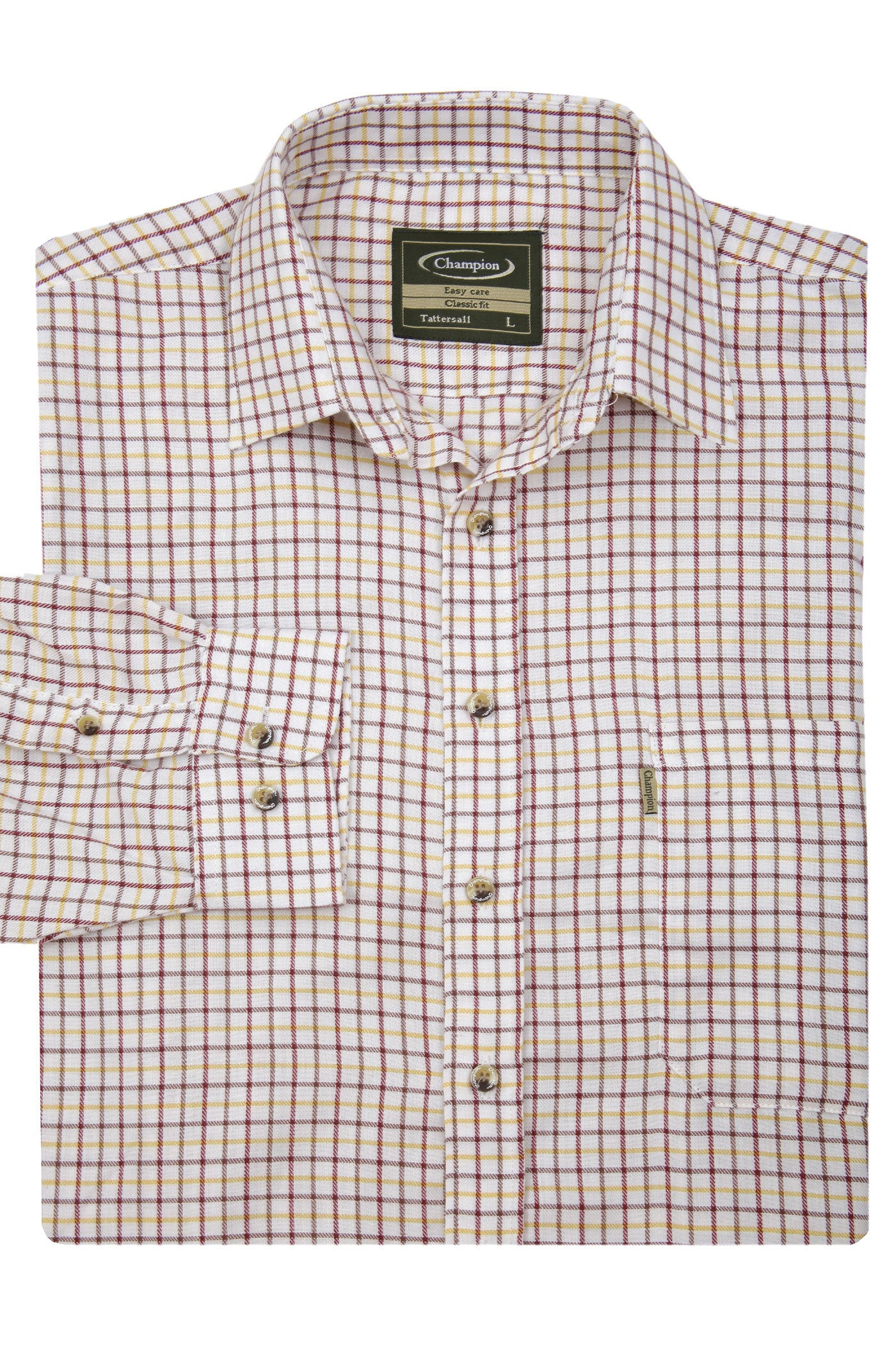 red check folded Champion Long Sleeved Tattersall  Country Check Shirt.