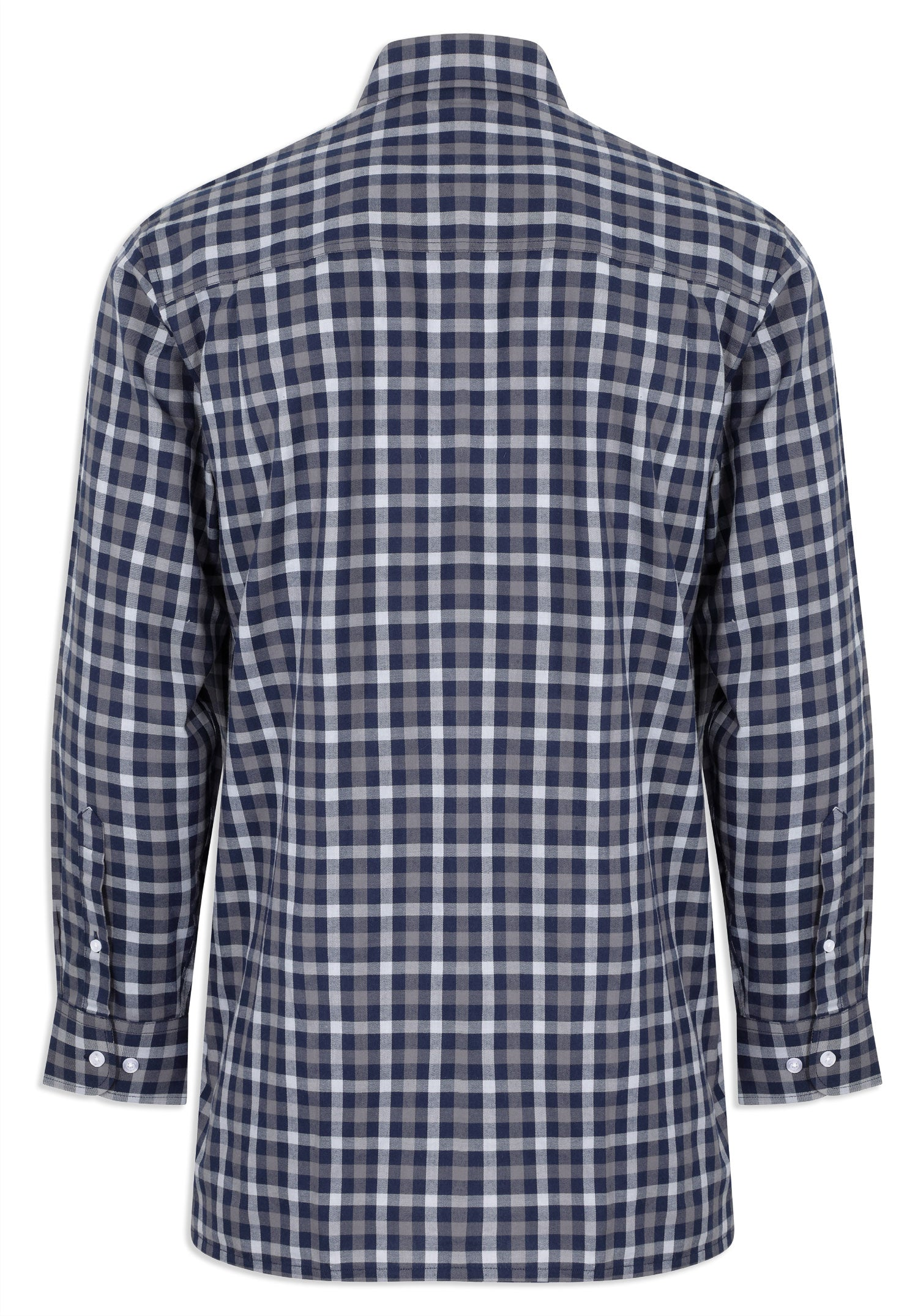 Back View Champion Southwold Navy Check Long Sleeve Shirt