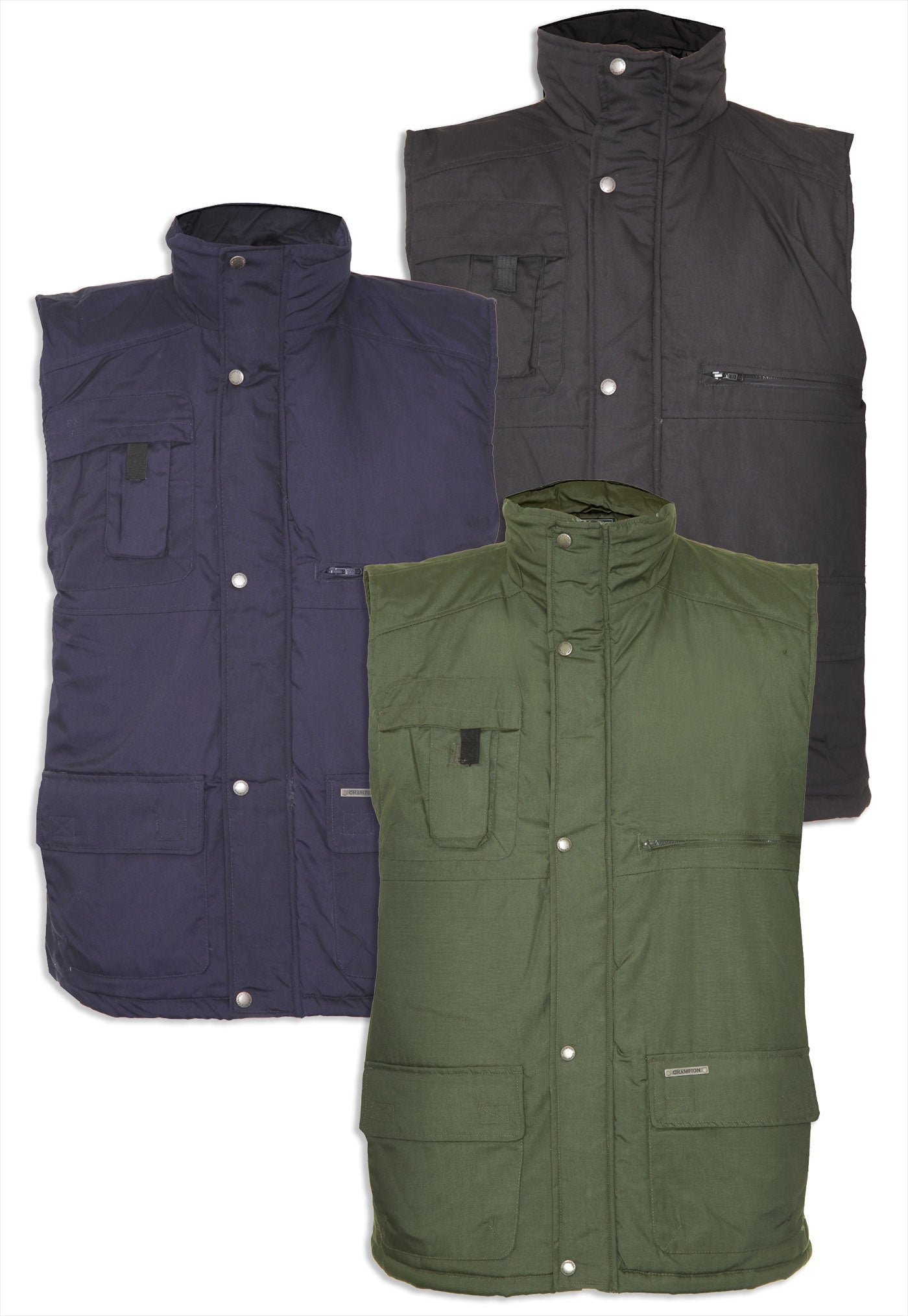 Champion Peak Multi-Pocket Padded Body warmer in three colours